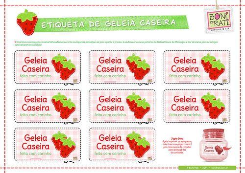 Etiqueta - Rótulo de Geleia Caseira (para imprimir) * BoniFrati