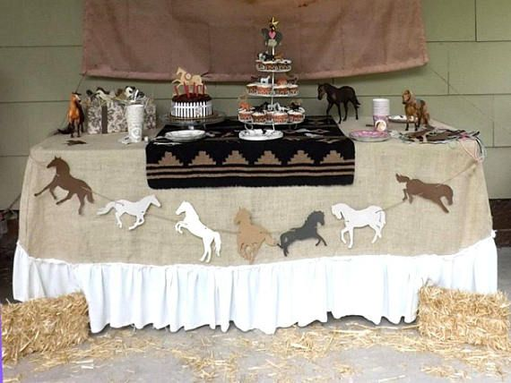 Horse Birthday Party Garland, Die Cut Food Table Banner, Photo Prop or Backdrop, Color Choices, Western Wedding Garland, Farmhouse Decor