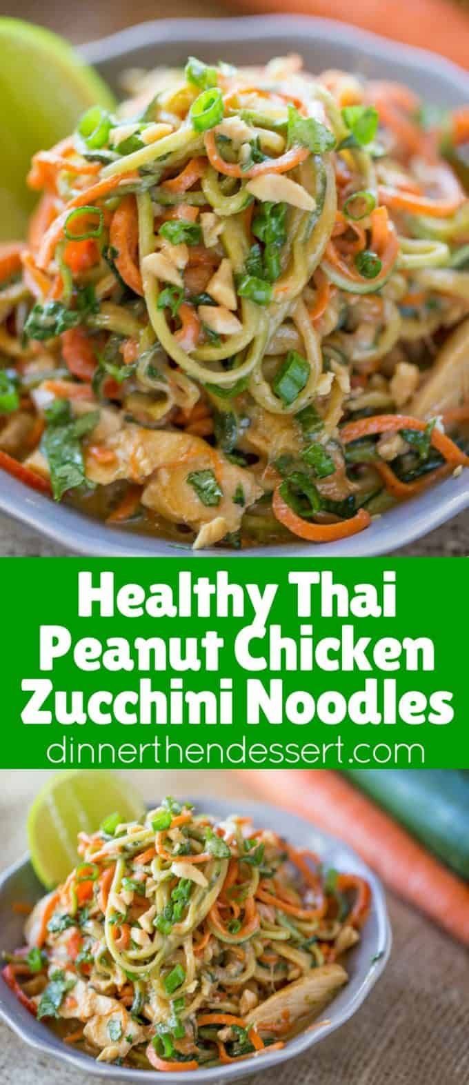 Healthy Thai Peanut Chicken Zucchini Noodles with a fresh peanut lime sauce mixe…