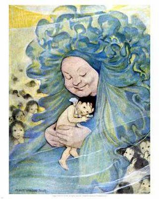 """1862 CE. """"Mrs Doasyouwouldbedoneby"""" from the """"The Water Babies"""" by Charles Kinglsey. Illustration by Jessie Willcox Smith"""