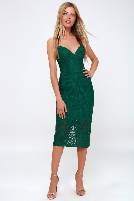 1288fbb280f GIA FOREST GREEN LACE BODYCON MIDI DRESS