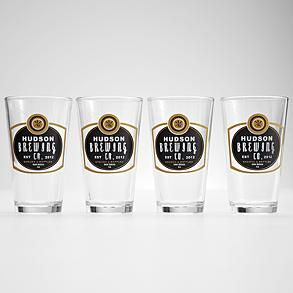 set of 4 personalized barley pub glasses from RedEnvelope.com This would be amazing for my brother who is going to start to make beer maybe as a Christmas or birthday present