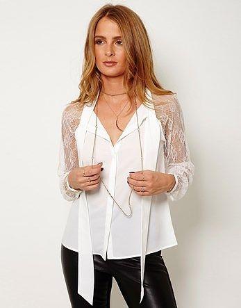 Womens cream shirt from Lipsy - £55 at ClothingByColour.com