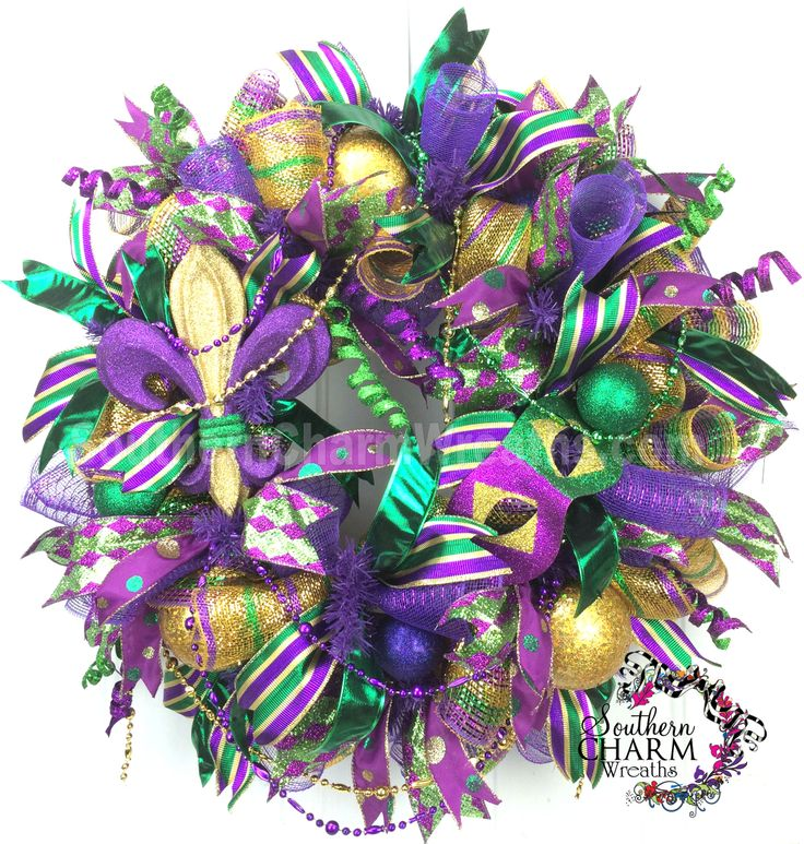 Deco Mesh Mardi Gras Wreath For Door or Wall Fleur De Lis, Fat Tuesday, Masquerade, New Orleans by www.southerncharmwreaths.com #mardigras2014