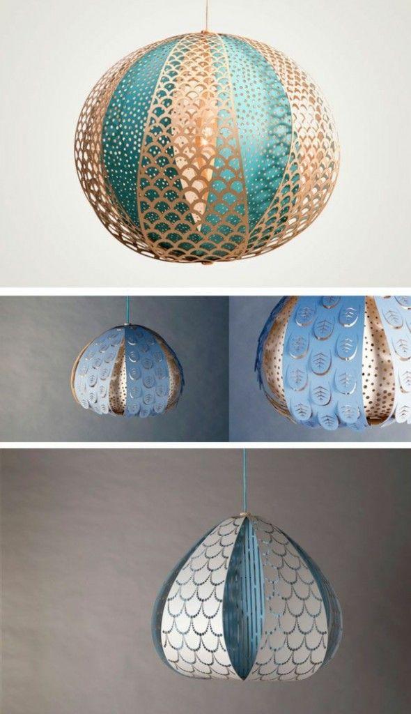 tischlampe kugel lampe papier basteln hängend
