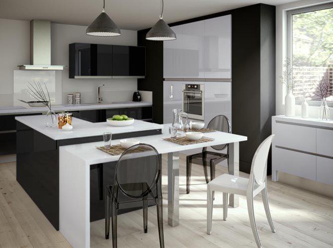 Cuisine noire blanche pur e cuisine kitchen for Cuisine design epuree