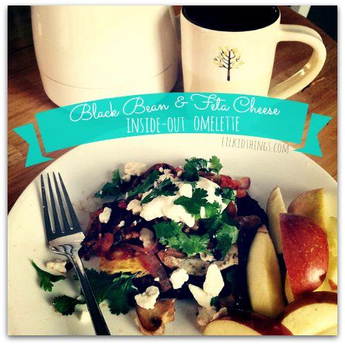 Black bean & Feta Cheese (inside-out) omelette recipe - lilkidthings.com