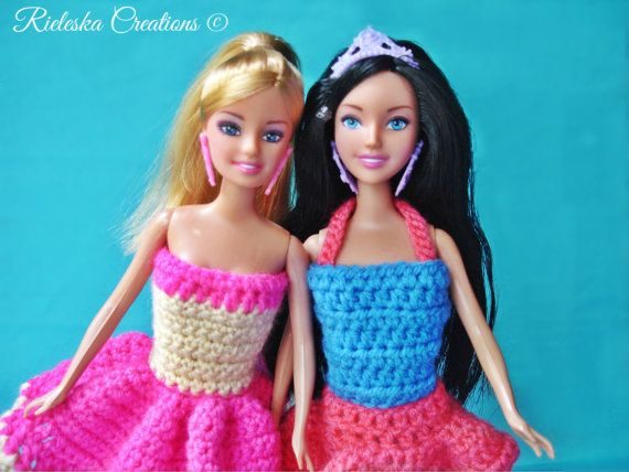 Price is for the PATTERN only, not the finished product.  2 Crochet Pdf Pattern- Barbie Clothes- Crochet dress,top, skirt  *Worsted weight yarn…