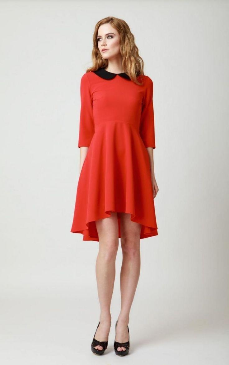 Rochie rosie asimetrica cu guler negru