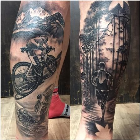 Triathlon Themed Tattoo in Black and Gray