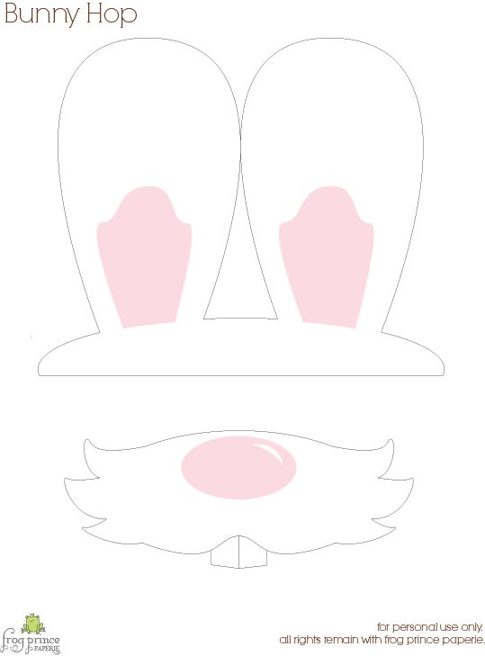 Free printable bunny ears and mouth for photo props.