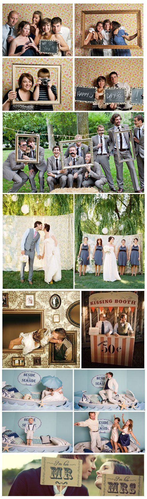 Having a photo booth or professional photographer to help create a photo guest book instead of just having them sign it. And picture frames are a great prop to have during your wedding party photos