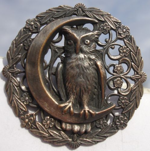 OWL ON CRESCENT MOON, OPENWORK PEWTER ~1940