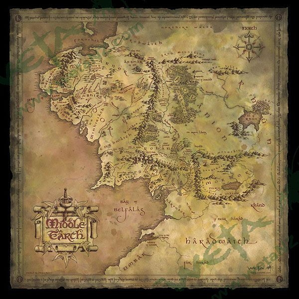 Parchment Map Of Middle Earth Parchment Map of Middle Earth | ThinkGeek LOTR & Hobbit | Middle