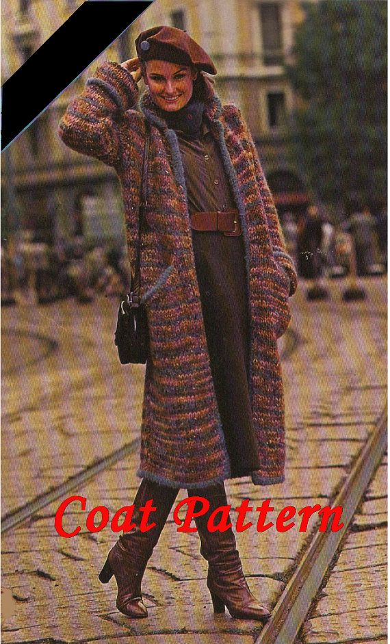 Nut brown melange knitting coat with blue stripes by greekfractals