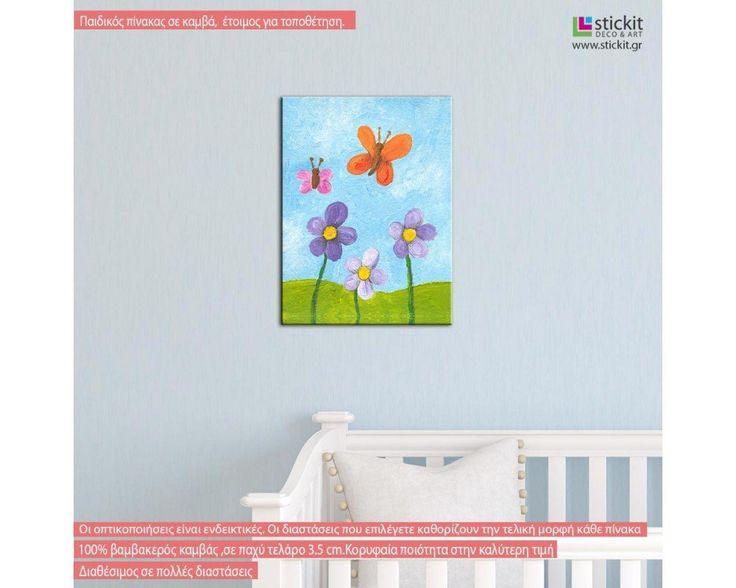 Λουλούδια και πεταλούδες, παιδικός - βρεφικός πίνακας σε καμβά,9,90 €,https://www.stickit.gr/index.php?id_product=17154&controller=product