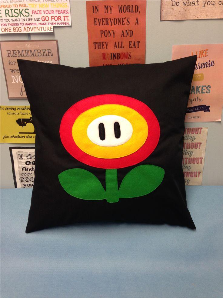 Fire Flower Black Super Mario Bros Retro Cushion Pillow Cover Felt Nintendo Childrens Bedroom Felt Applique Red Yellow Green