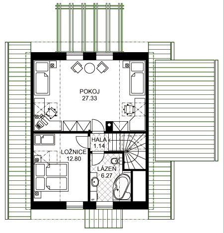 Půdorys typového rodinného domu Růženka