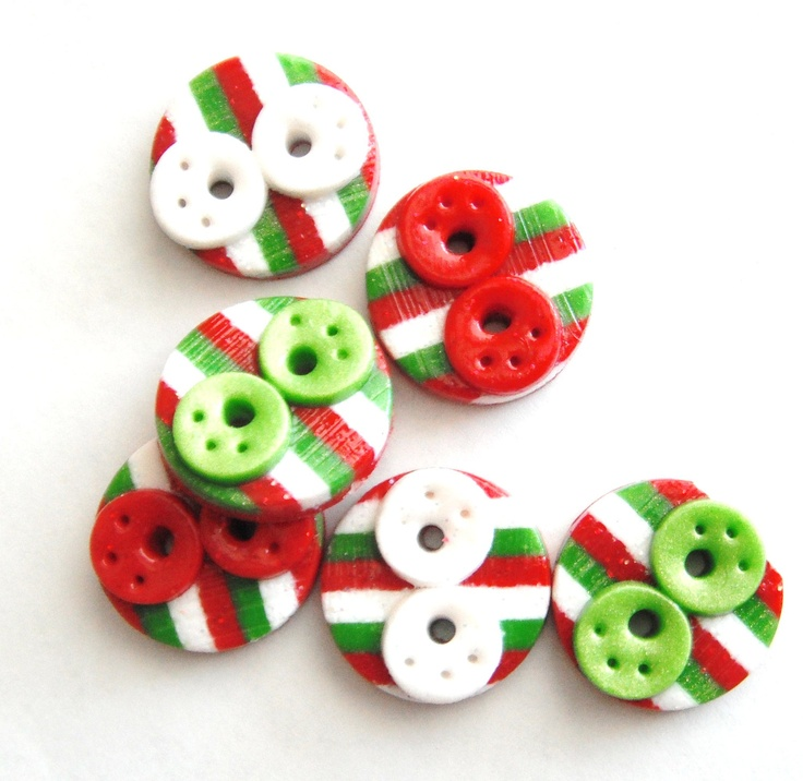 Button Stiped Christmas Glitter Doodle handmade polymer clay buttons ( 6 ). $7.50, via Etsy.