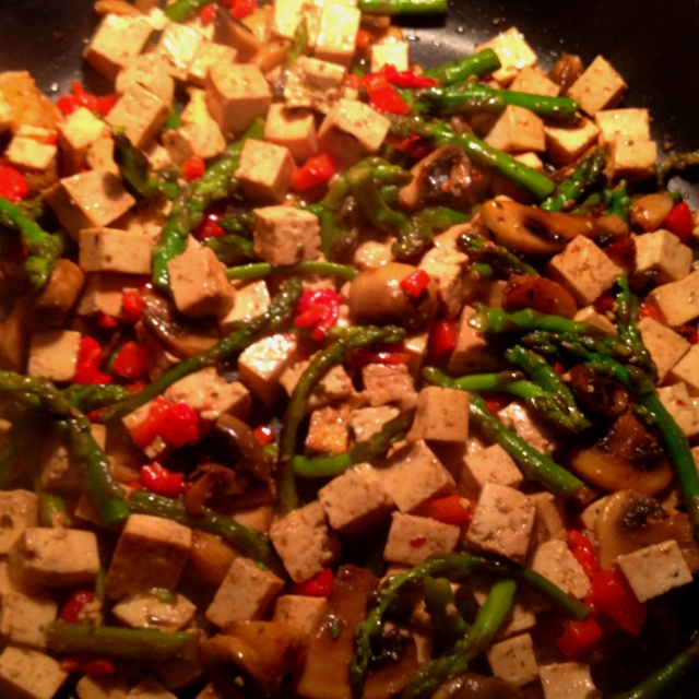 stir fry: firm tofu, asparagus, roasted red pepper, roasted garlic ...