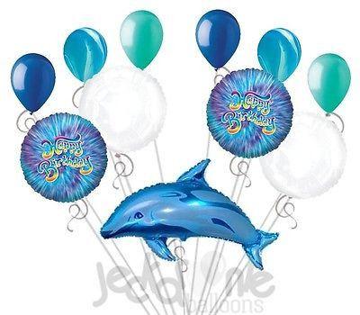 11 pc Blue Jumping Dolphin Balloon Bouquet Happy Birthday Luau Ocean Fish Sea