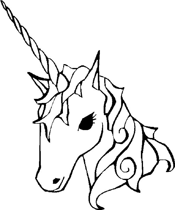 easy coloring pages of unicorns