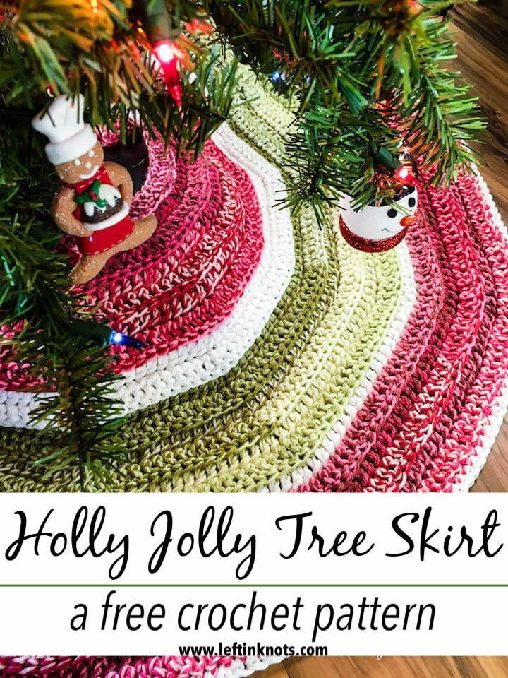 Crochet Holly Jolly Christmas Tree Skirt A Free Pattern Left In Knots Christmas Tree Skirts Patterns Crochet Tree Crochet Christmas Trees