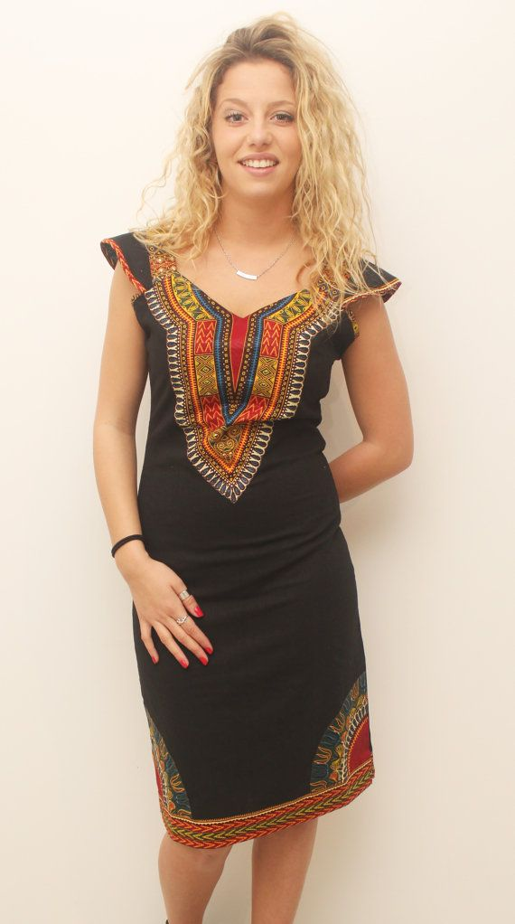 Pencil black linen dress by AfricanStyleAS on Etsy