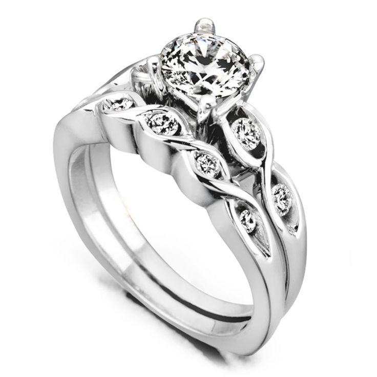VVS1 Round Cut 1.00 Ct Solitaire Diamond Wedding Band Set 14K White Gold 888