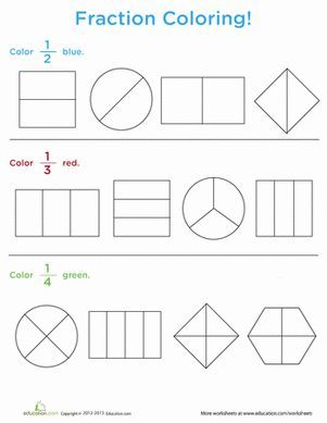 Fraction Coloring Fractions worksheets, Math lessons