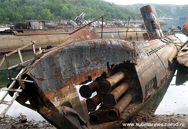 Submarines graveyard in Nezametnaya Cove, Kola Peninsula, Russia    The area around Nezametnaya Cove, close to the town of Gadzhiyevo, in Murmansk Oblast on the Kola Peninsula, is a cemetery where is located a lot of old Russian submarines. After serving their duty underwater, the submarines were brought to this restricted-access zone in the 1970s and then forgotten.