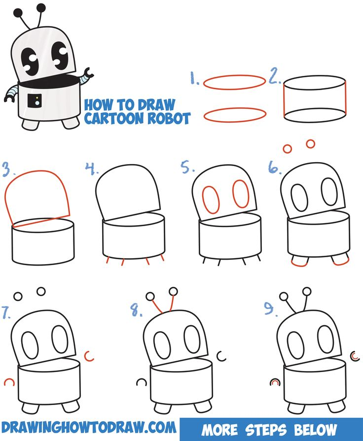 How to draw a cute cartoon robot easy step by step drawing for Cartoon drawing tutorials for beginners