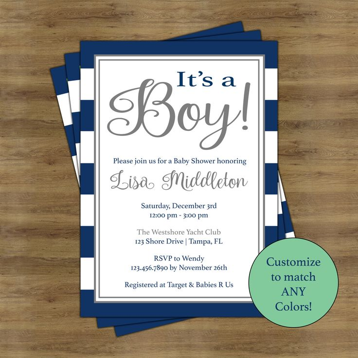 Its A Boy Baby Shower Invitations For Boys; Simple Baby Shower Invitation  Printable; Navy Baby Showe