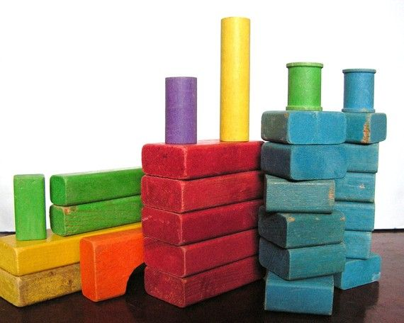 Playskool Building Blocks~ remember the cloth bag they came in?