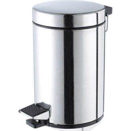 Poubelle de salle de bains 3 l chromé SENSEA Chromé brossé noir
