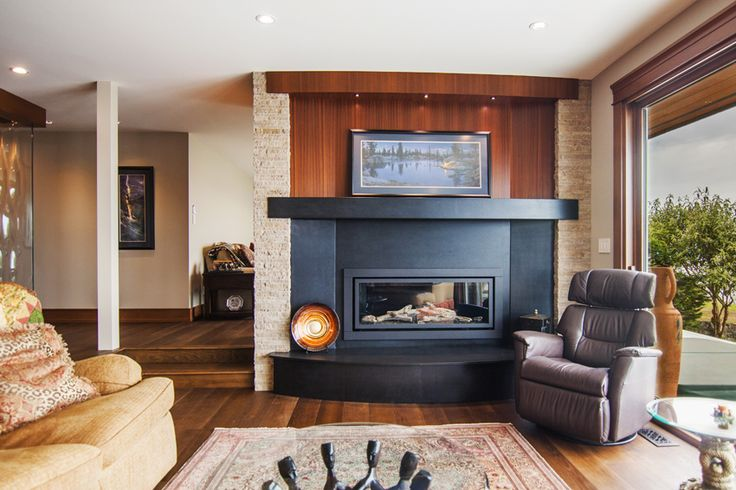 Fired granite fireplace makes a true statement piece in this home