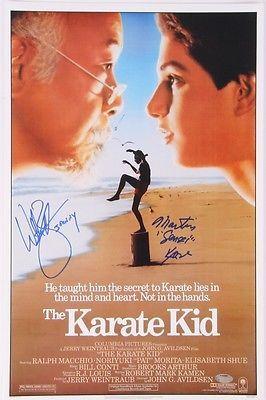 William-Zabka-amp-Martin-Kove-Signed-034-The-Karate-Kid-034-11x17-Poster-Inscribed-034-John