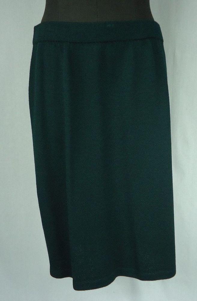 ST JOHN EVENING By Marie Gray Skirt Size 12 Green Knit Wear To Work #StJohn #StretchKnit