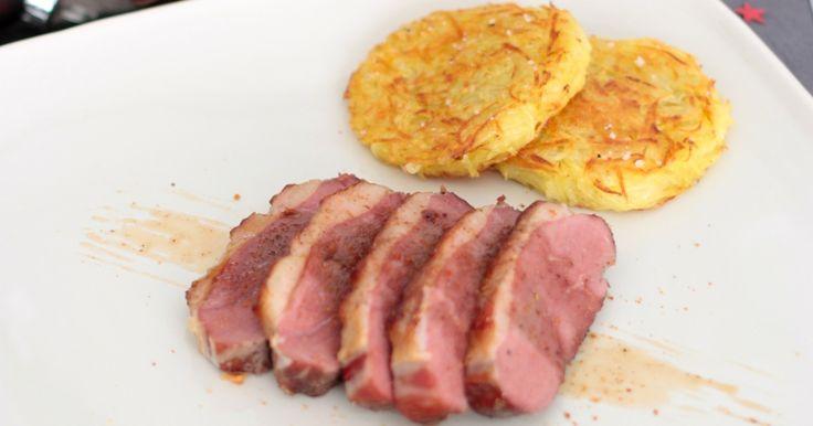 Recette - Magret de canard basse tempe rature, paillassons de pommes de terre et mousseline carottes   750g