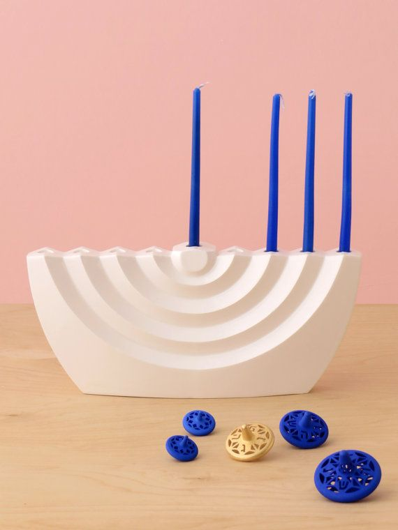 Modern Hanukkah Menorah wavy white ceramic by StudioArmadillo
