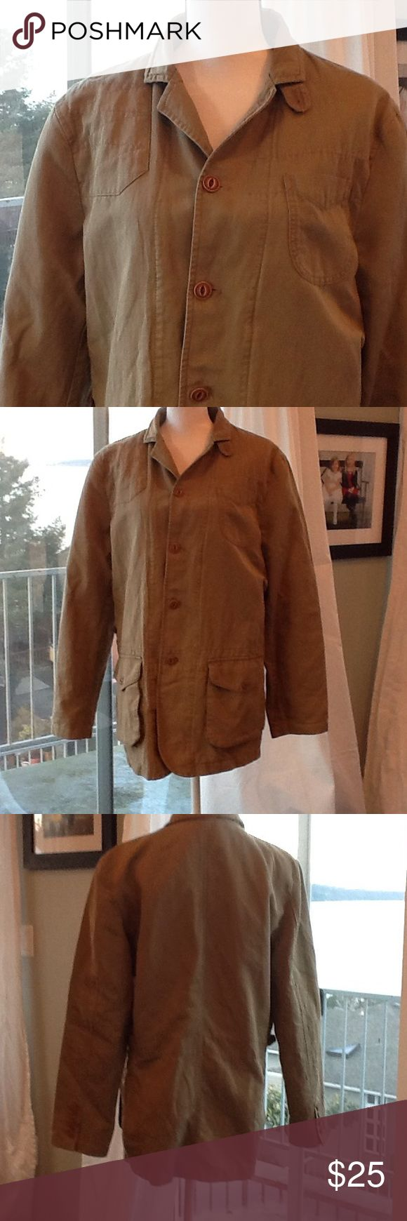 Men's jacket ... Great lady's boyfriend jacket 55% linen, 45% cotton; sleeve lining is 100% polyester. Machine wash warm. Used condition with normal wear. Daniel Cremieux Jackets & Coats Military & Field