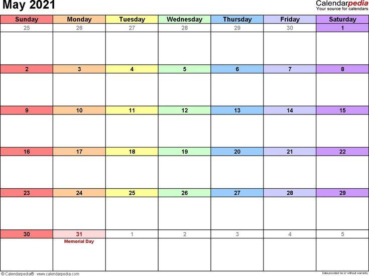 Cute May 2021 Calendar Template in 2020   Calendar ...
