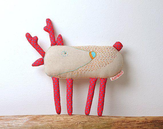 Deer. Designer hand-embroidered toy, Stuffed animal, Animal Toy, Stuffed animal toy, children