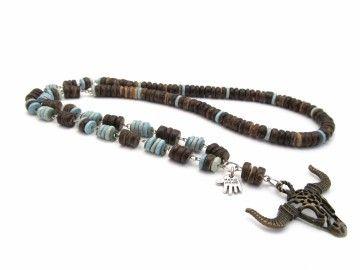 Handgemaakte heren sieraden , stoer , zomers Ketting met bronzen Bull