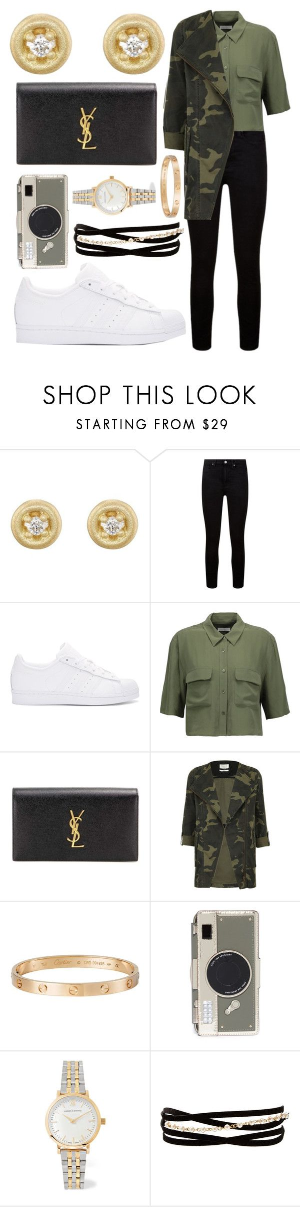 """Untitled #1525"" by mayanderson ❤ liked on Polyvore featuring Tate, Paige Denim, adidas Originals, Equipment, Yves Saint Laurent, Parka London, Cartier, Kate Spade, Larsson & Jennings and Kenneth Jay Lane"