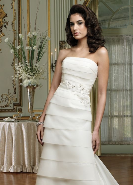 Strapless All Over Pleated Organza Bridal Dress Aja David Tutera Mon Cheri 212253