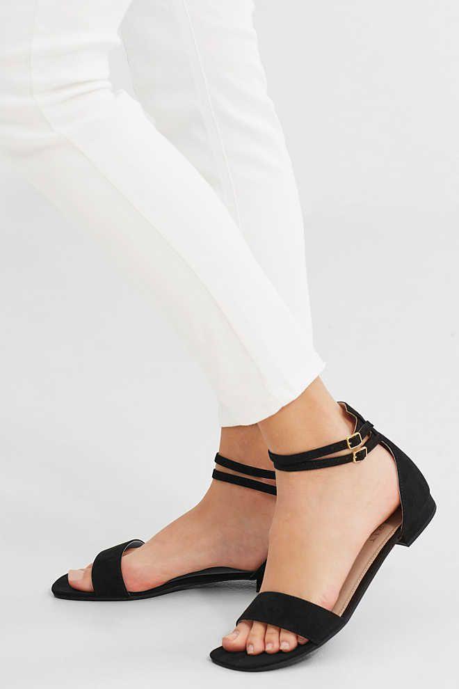 Esprit / Platte sandalen met enkelriempje