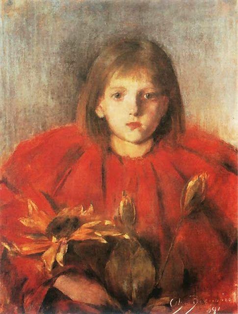 """""""Slonecznik"""" by Olga Boznanska (1891)"""