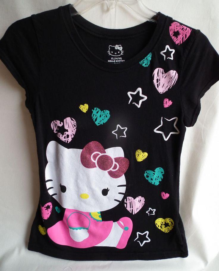 hello kitty tee shirt sz 14 16 black with kitty 100. Black Bedroom Furniture Sets. Home Design Ideas