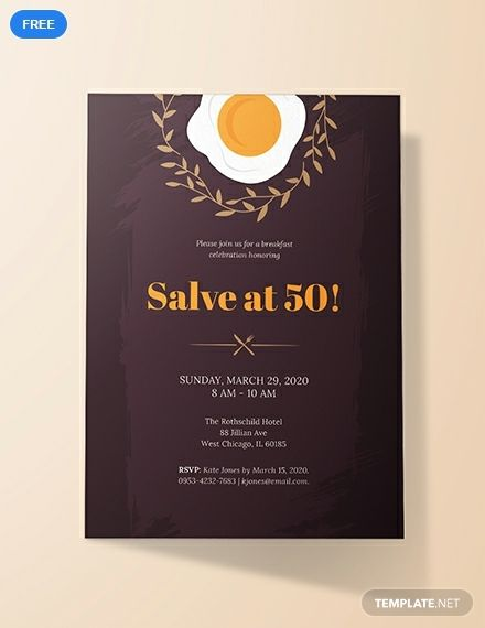 Free Formal Breakfast Invitation Printable Party Invitation Design